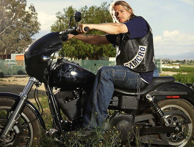 Sons of Anarchy actor Charlie Hunnam on motorcycle.