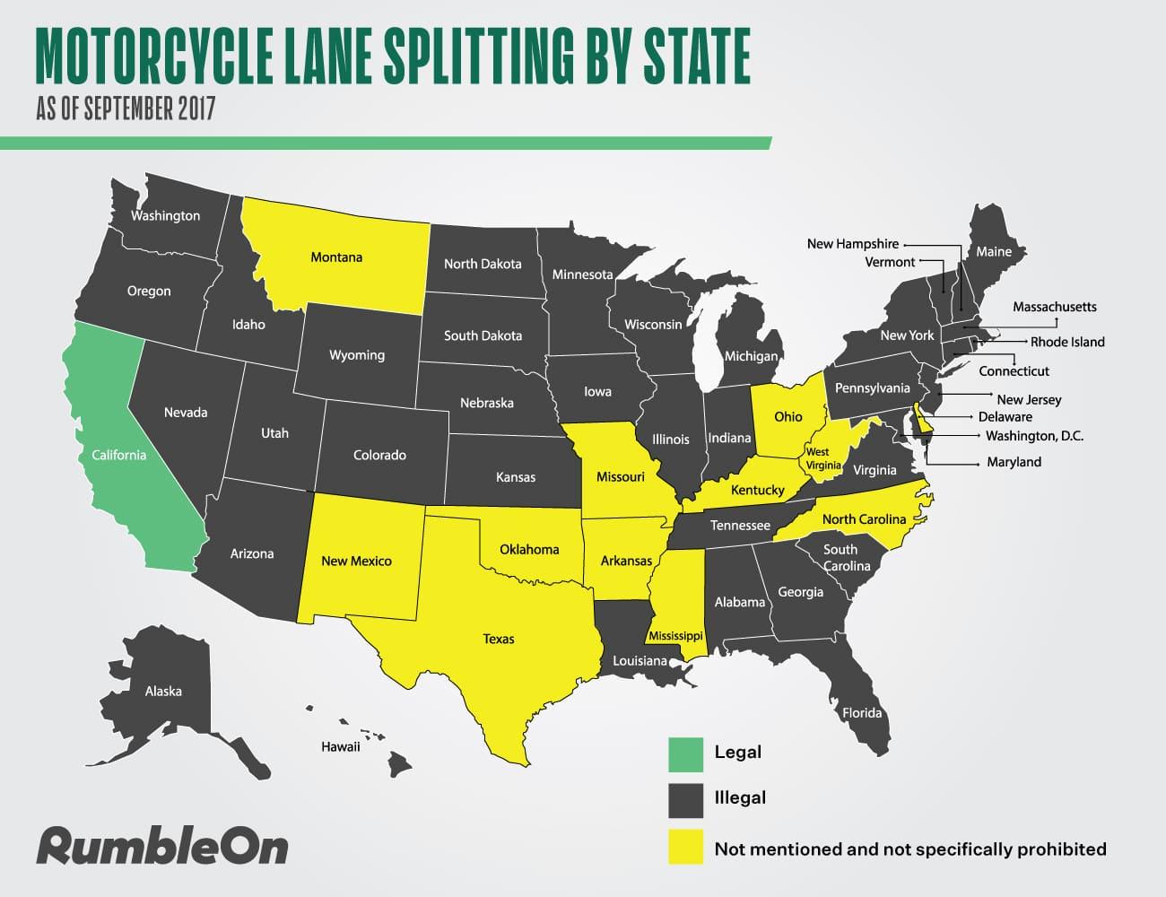 Where is lane splitting legal