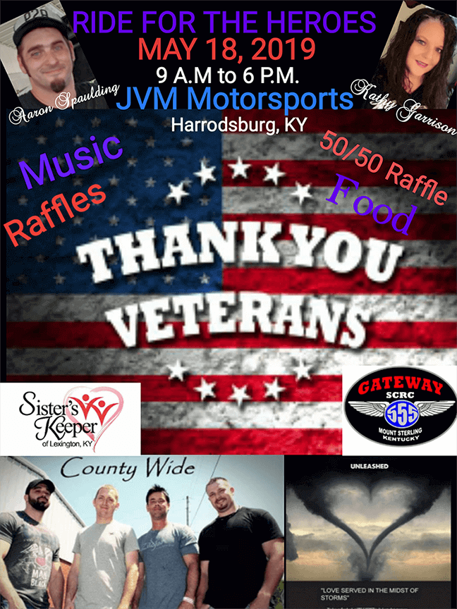 Veteran motorcycle charity ride in Kentucky, Ride for the Heroes 2019