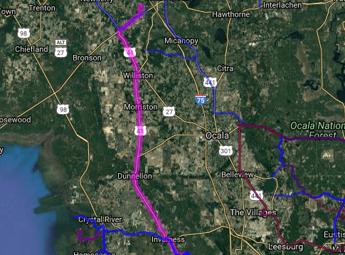 Best motorcycle route in Florida - Archer - Williston - Citrus Springs - Floral City