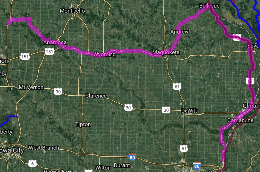 Best motorcycle route in Iowa - Port Byron - Central City