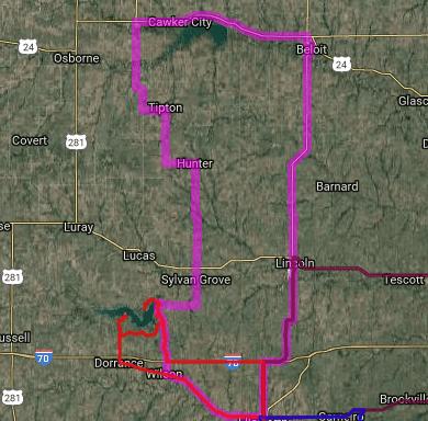 Best motorcycle road in Kansas - Ellsworth - Beloit - Downs Lake Wilson - Wilson