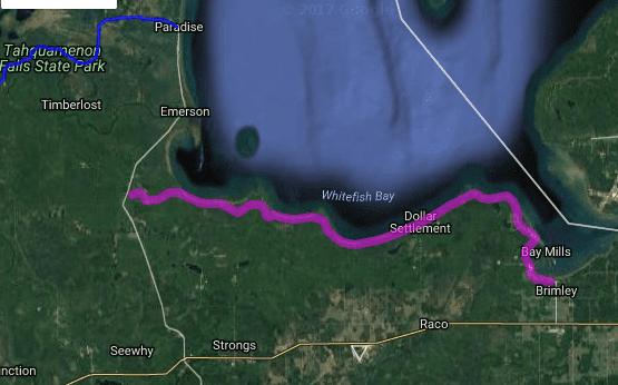 Best motorcycle road in Michigan - Lake Superior Shoreline Road - Lakeshore Drive - Brimley - Tahquamenon Bay