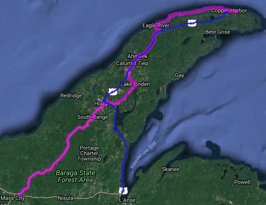 Best motorcycle rides in Michigan - M 126 - Copper Harbor - Mass City