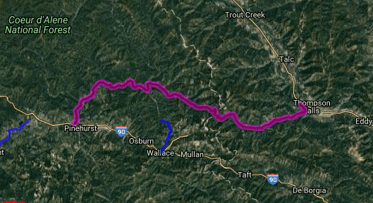 Best biker rides in Montana - Thompson Falls - Kingston - Prospect Creek Road - Coeur D'Alene River Road