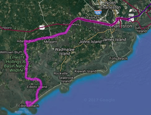 Best motorcycle route in South Carolina - Charleston - Edisto Island