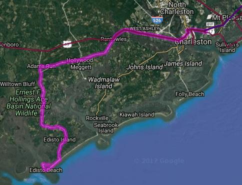Best motorcycle route in South Carolina - Charleston - Edisto Island