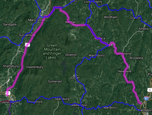 Best motorcycle road in Vermont - Bennington - Manchester Center - Battleboro