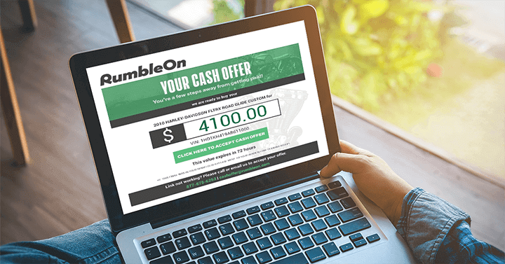 RumbleOn Cash Offer to Sell a Motorcycle