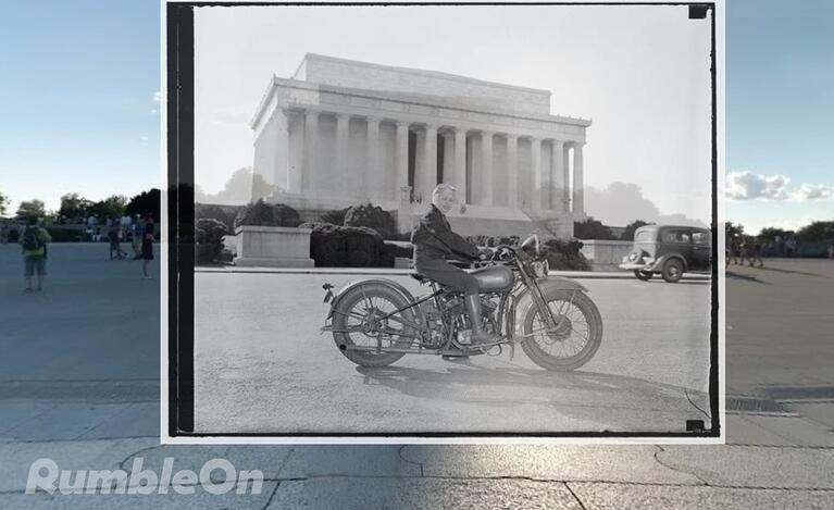 A then-and-now photo showing where Sally Robin posed with her motorcycle in front of the Lincoln Memorial, 1937.