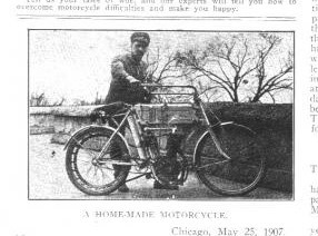 """Motorcycle Illustrated 1907 issue with """"Richard Traub"""" and his homemade motorcycle"""