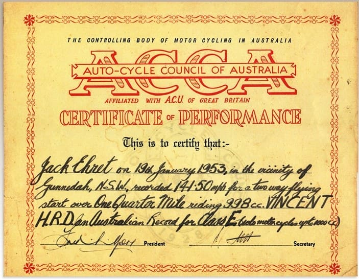Ehret Record Certificate