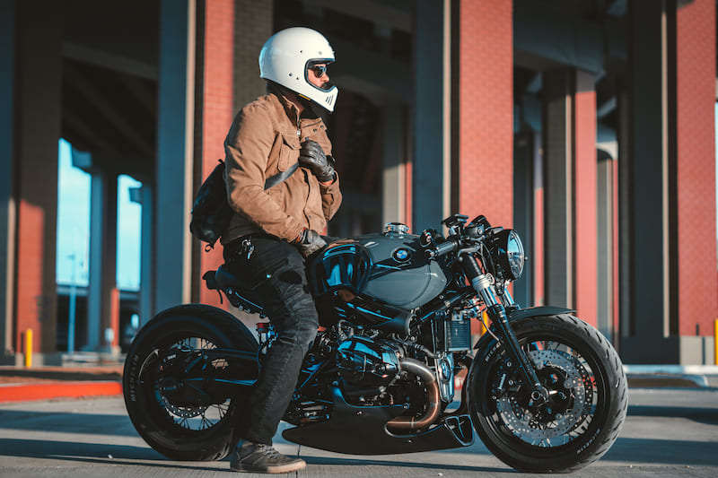Stephen sitting on BMW R NineT