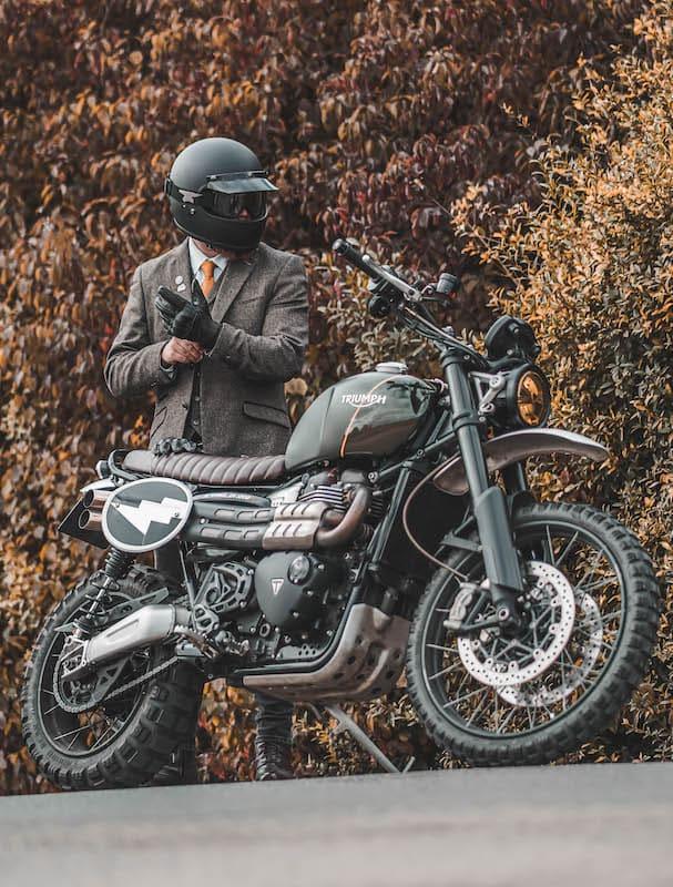 Triumph Scrambler 1200 and man in suit