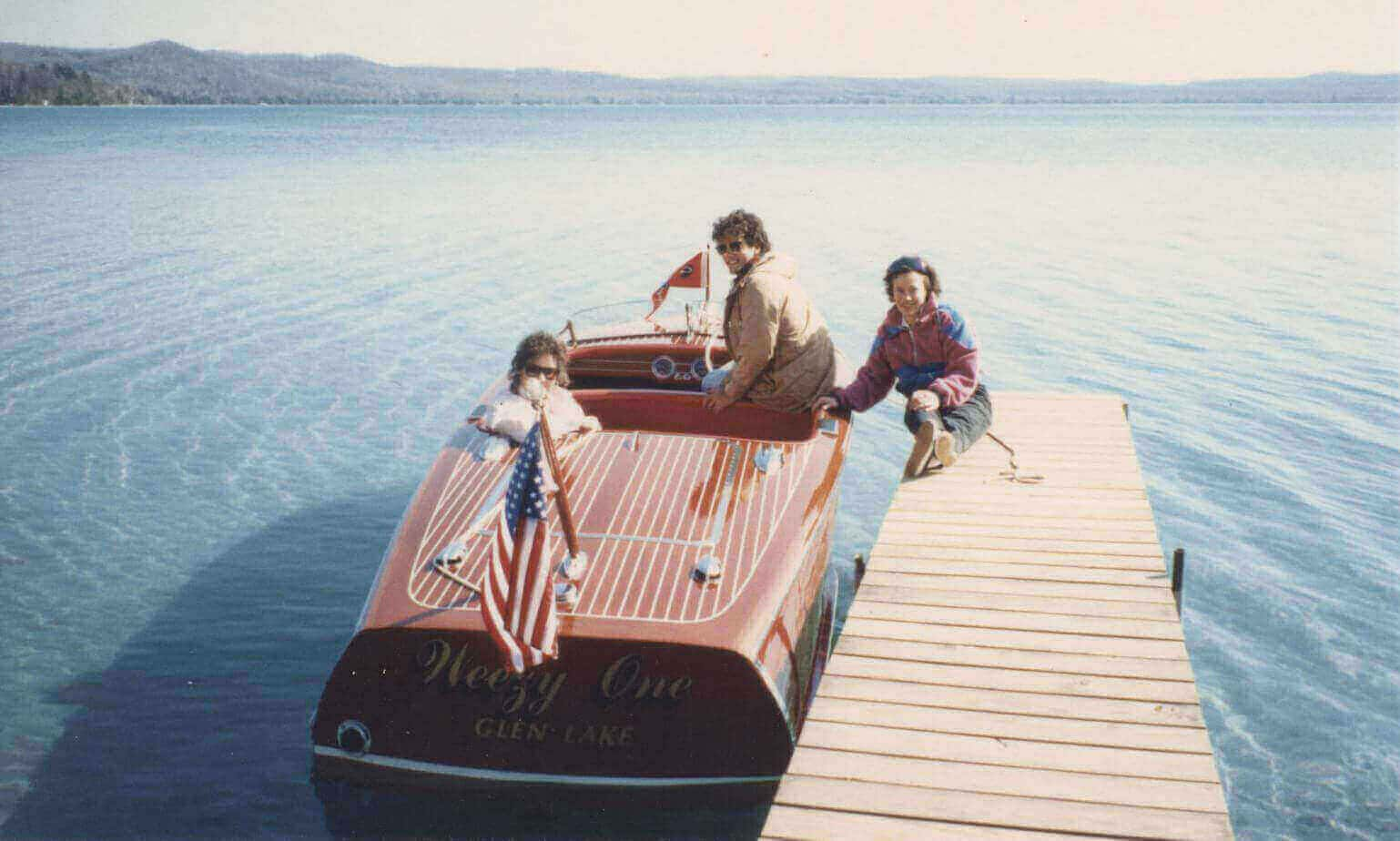 Hagerty Family Glen Lake on one of their wooden boats.