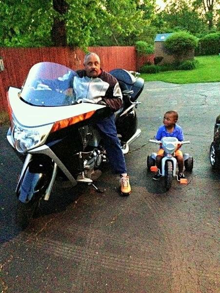 RumbleOn dad on motorcycle