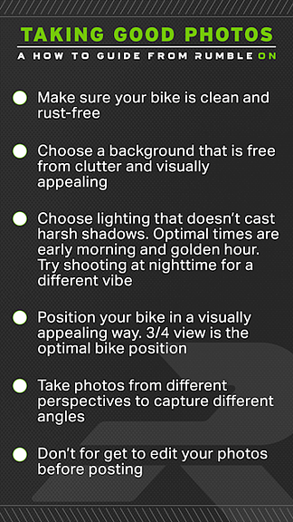 How to photograph your motorcycle checklist.