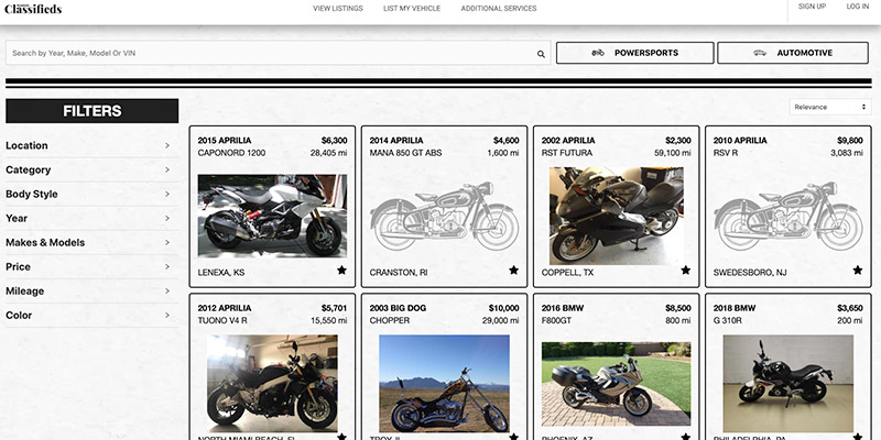 RumbleOn Classifieds to browse and shop used motorcycle for sale