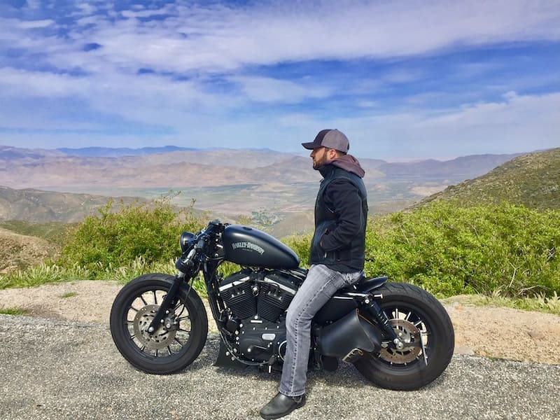Harley davidson iron 883 in the mountains