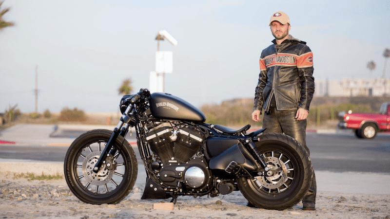 man with harley davidson iron 883