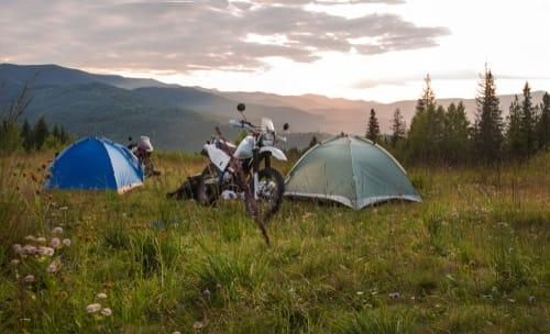 motorcycles and tent
