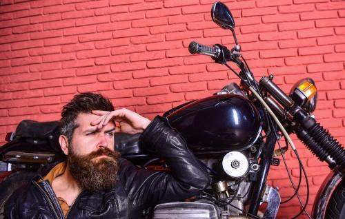 motorcyclist waiting