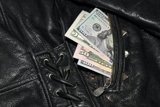 money in biker jacket