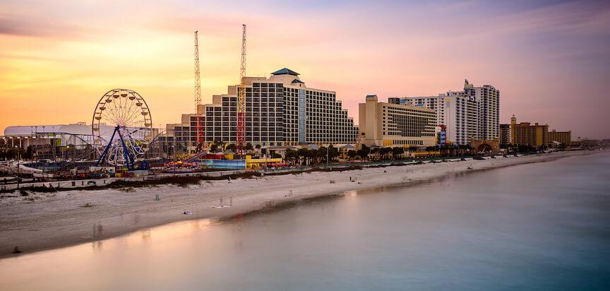 Daytona Beach Boardwalk and hotels