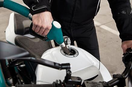 filling motorcycle with gas
