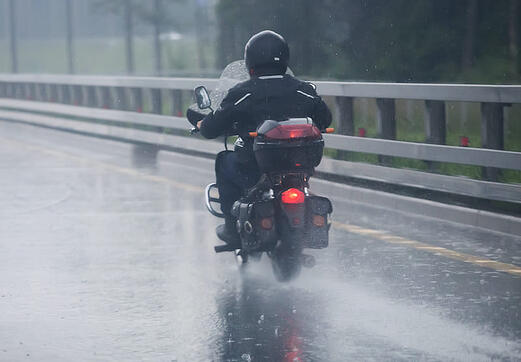 motorcycle riding in rain