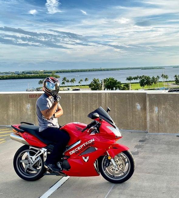 Honda Interceptor VFR800 parking lot